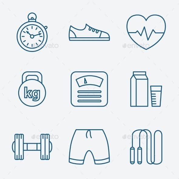 Set of Outline Stroke Fitness Icons Vector Illustr