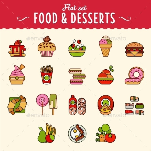 Collection of Food Icons in Flat Design Style - Miscellaneous Icons