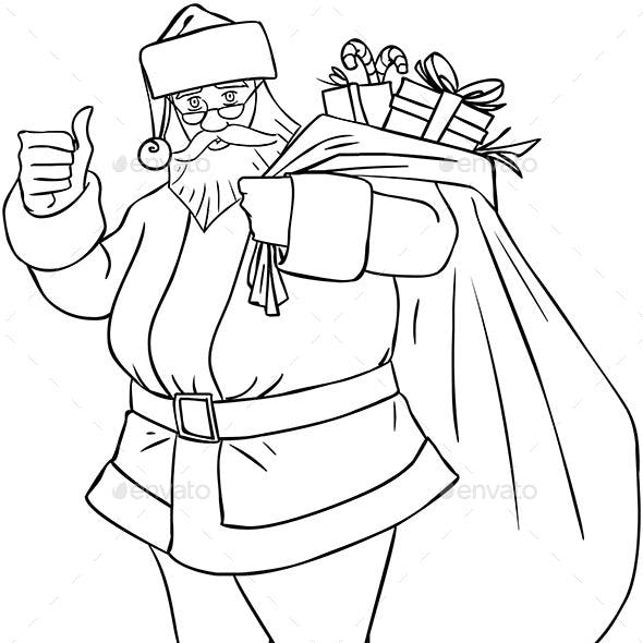 Santa Claus with Bag of Presents Outline