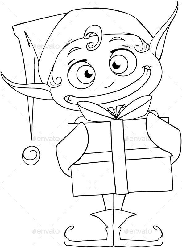 Christmas Elf Holding a Present Coloring Page - Christmas Seasons/Holidays