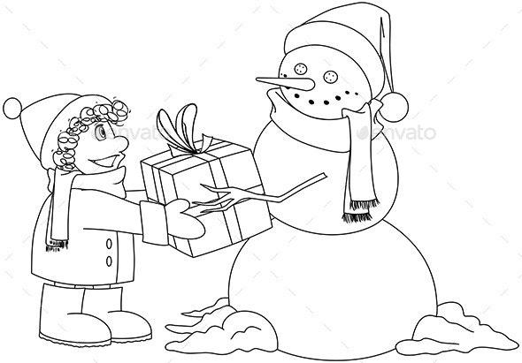 Christmas Snowman Gives Present Coloring Page - Christmas Seasons/Holidays
