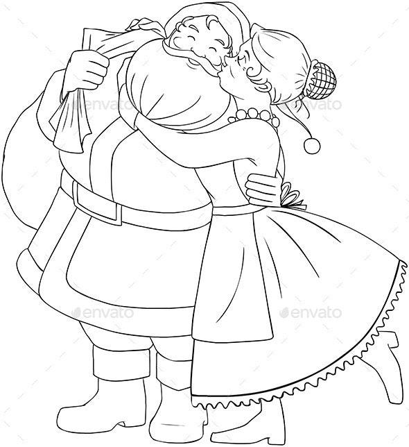 Mrs Claus Kisses Santa On Cheek - Christmas Seasons/Holidays