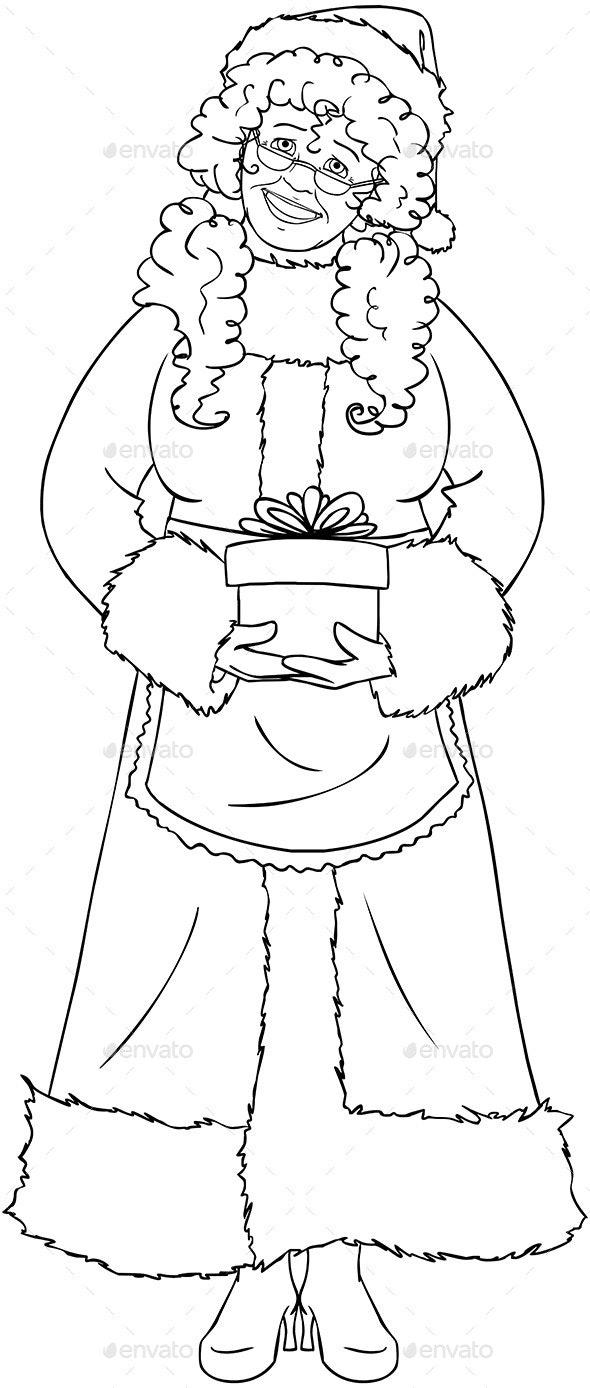 Mrs Santa Claus Holding A Present Coloring Page - Christmas Seasons/Holidays