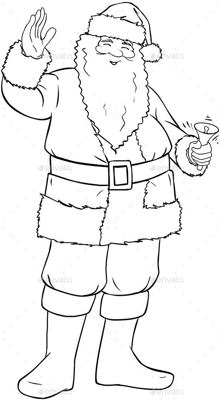 Santa Claus Holding Bell - Christmas Seasons/Holidays