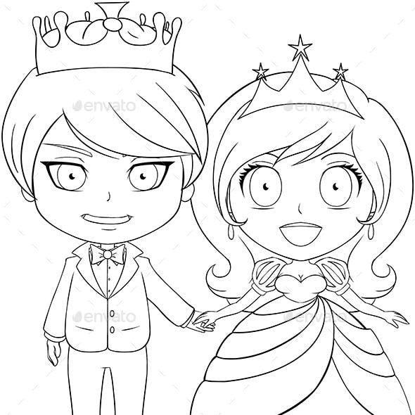 Prince and Princess Coloring Page