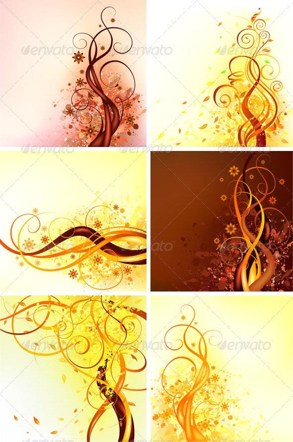 6 Autumn vector illustrations - Seasons Nature