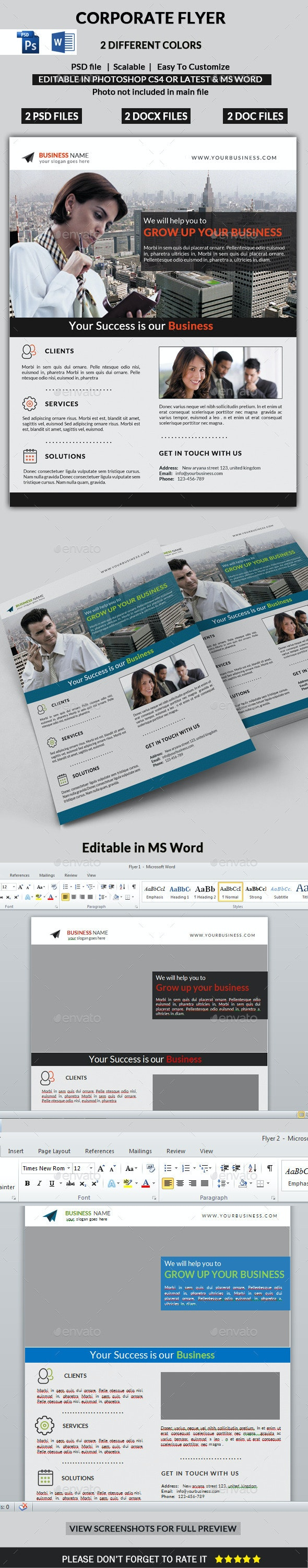 Corporate Flyer (PSD & MS Word) - Corporate Flyers