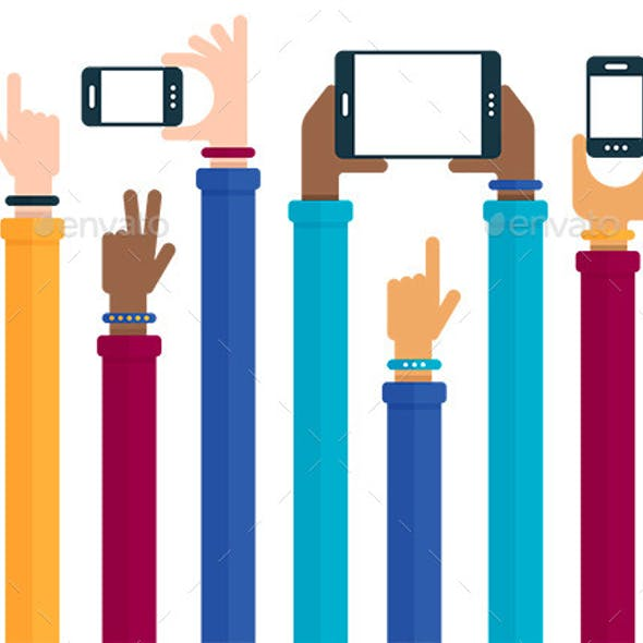 Mobile Devices Hands Raised Concept
