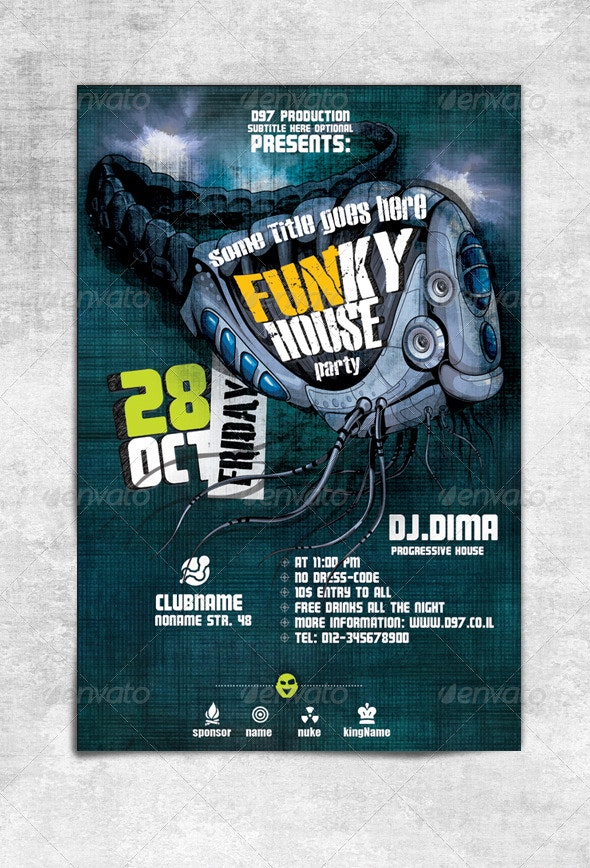 Funky House Flyer - Clubs & Parties Events