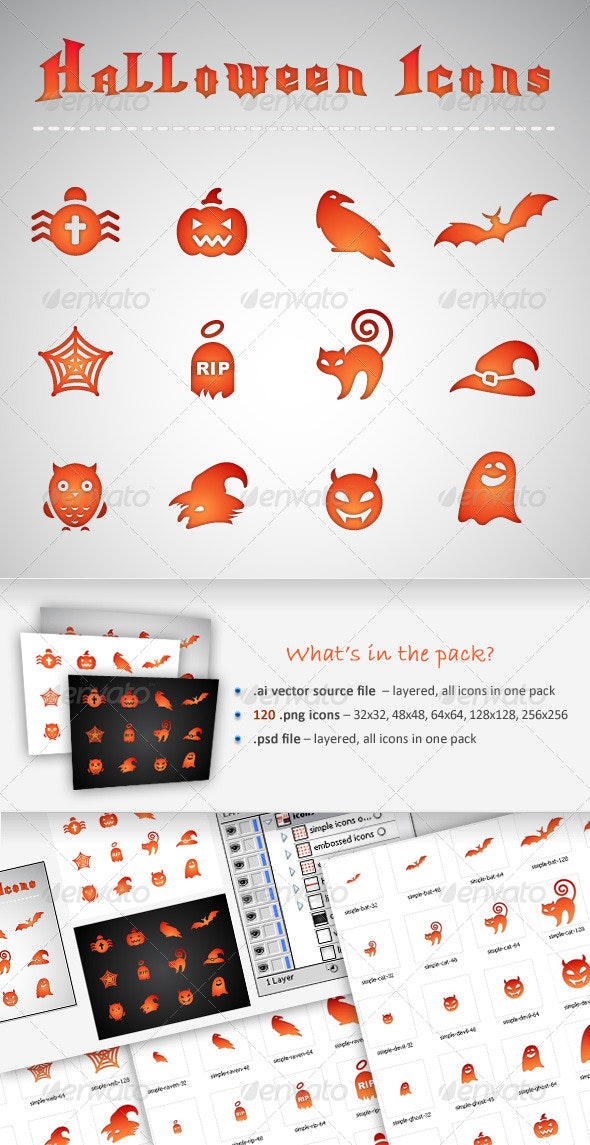 12 Halloween Icons - Web Icons