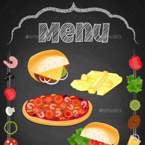 Fast Food on the Chalkboard.