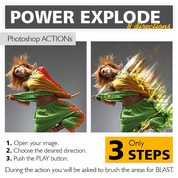 Power Explode Photoshop Action