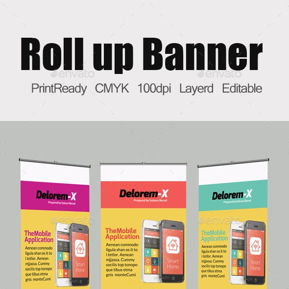 Mobile App Business Roll Up Banners Template