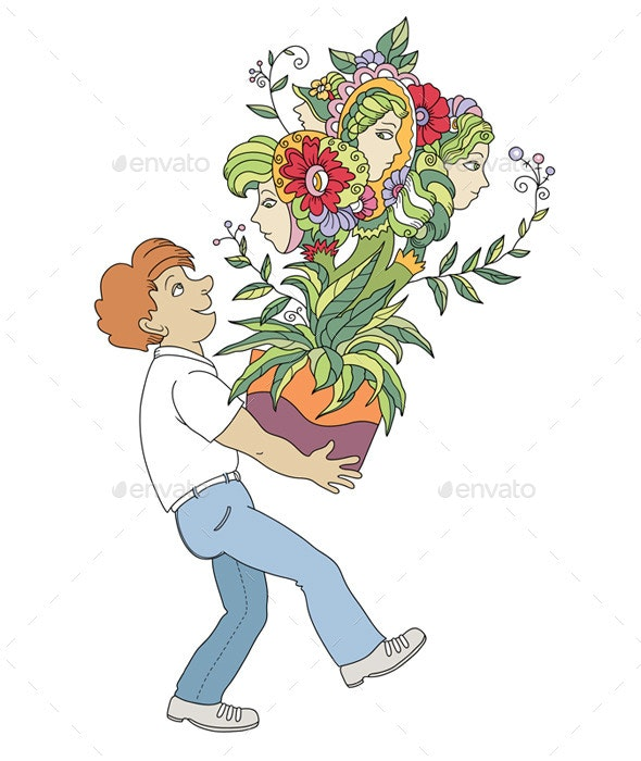 Man With Unusual Plant - Flowers & Plants Nature