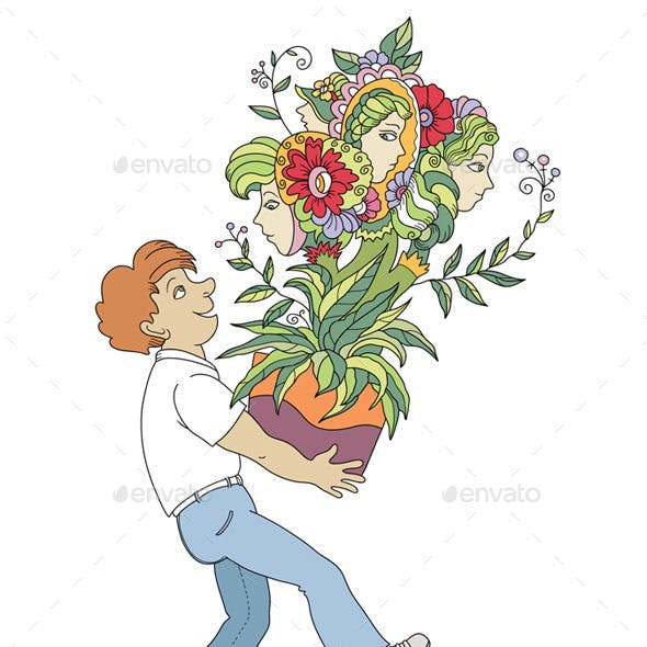 Man With Unusual Plant
