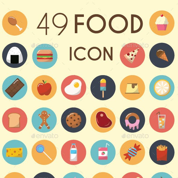 Set of 49 Food Icons