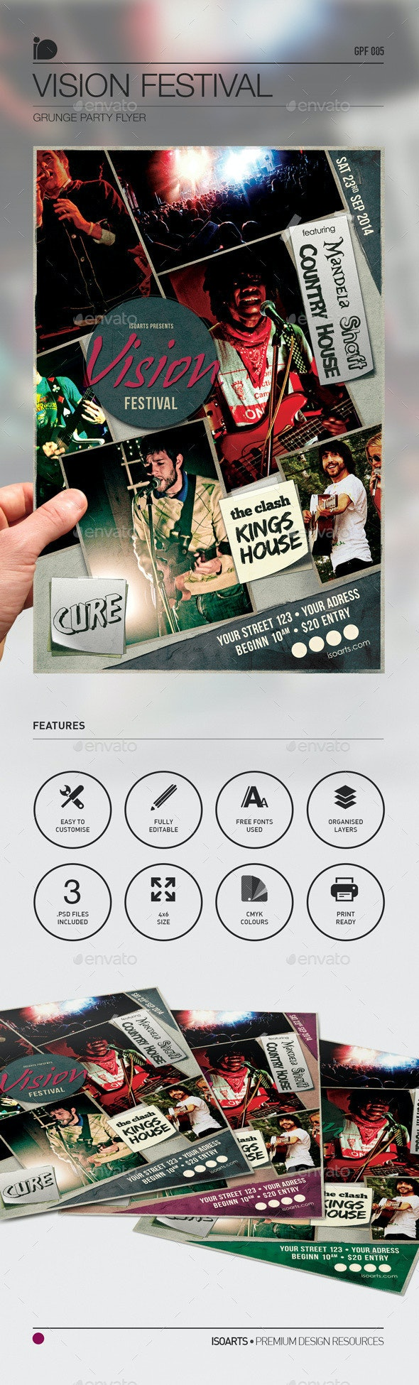 Grunge Party Flyer • Vision Festival - Concerts Events