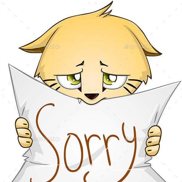 Kitten Holds Sign of Apology