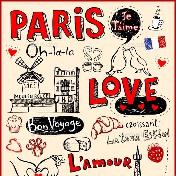 Paris Love Doodles