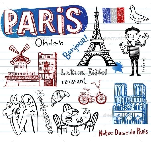 France Doodles - Travel Conceptual