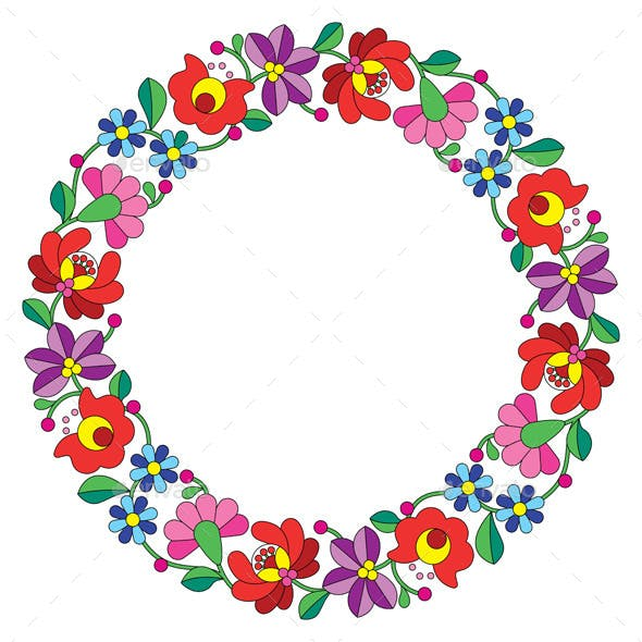 Kalocsai Embroidery in a Circle