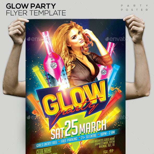 Glow Party Template PSD Flyer/Poster
