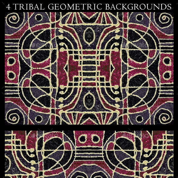 4 Tribal Geometric Art Background Patterns