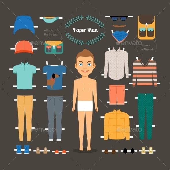 Paper Doll Man Template - Miscellaneous Vectors