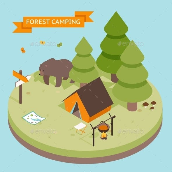 Camping Icon Isometric