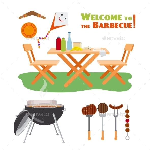 Barbecue BBQ Poster Elements