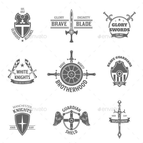 Heraldic Coat of Arms Labels Set