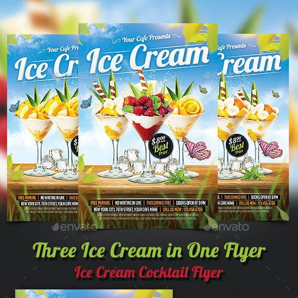 Ice Cream Cocktails Party Flyer Template