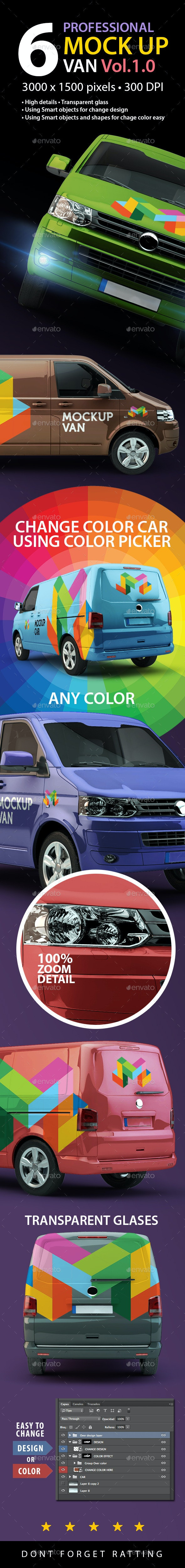 6 Mock up Van 1.0 - Product Mock-Ups Graphics