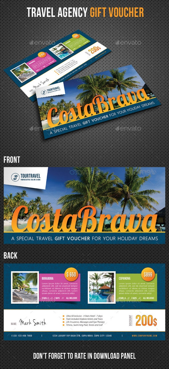 Travel Agency Gift Voucher V02 - Cards & Invites Print Templates