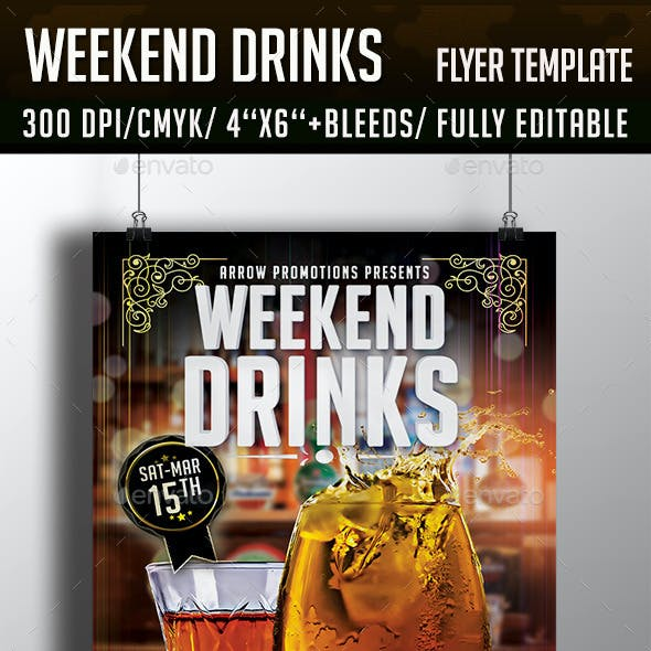 Weekend Drinks Cocktail Night Flyer