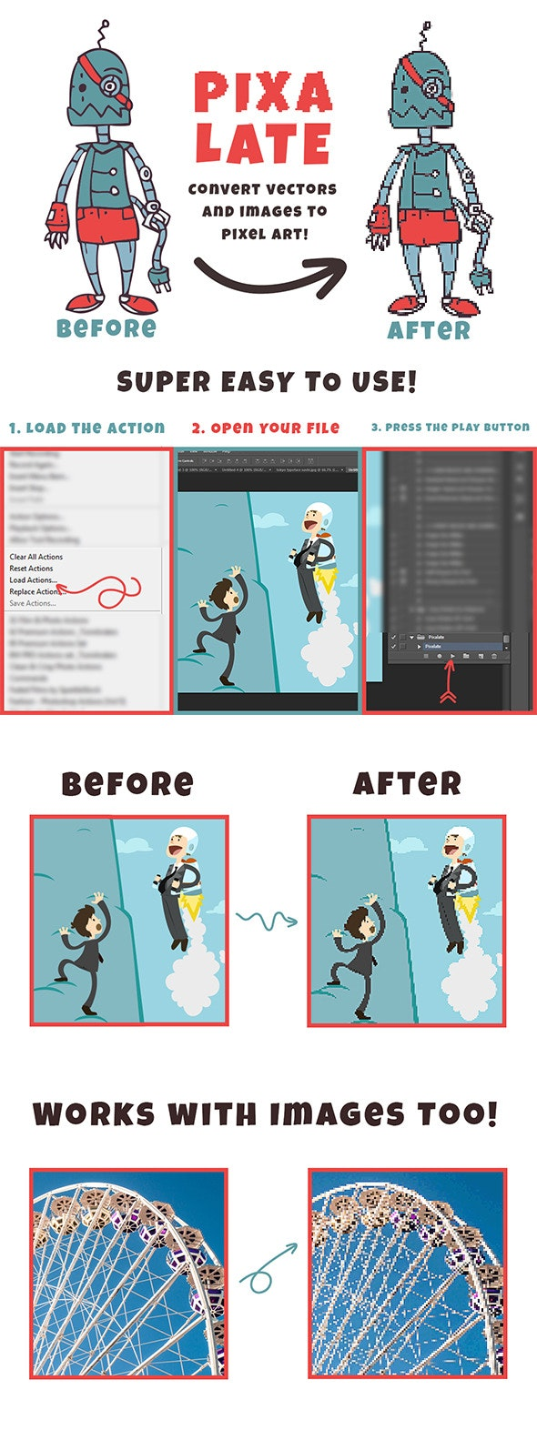 Pixelate Action - Photo Effects Actions