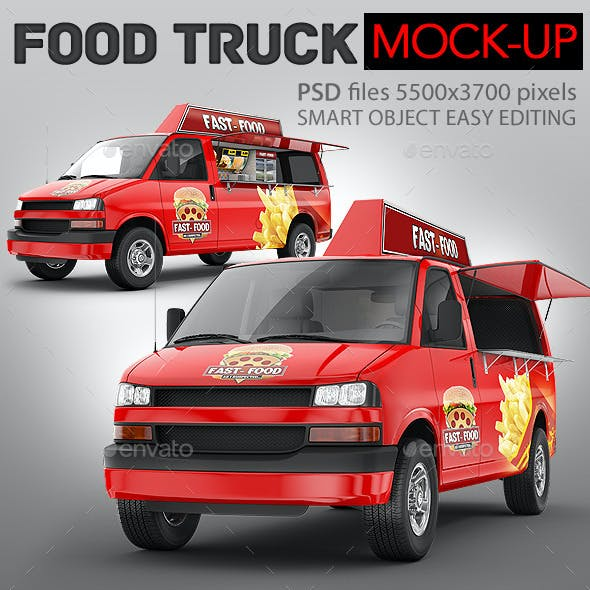 Food Truck Mock-Up. Minibus Eatery Mockup
