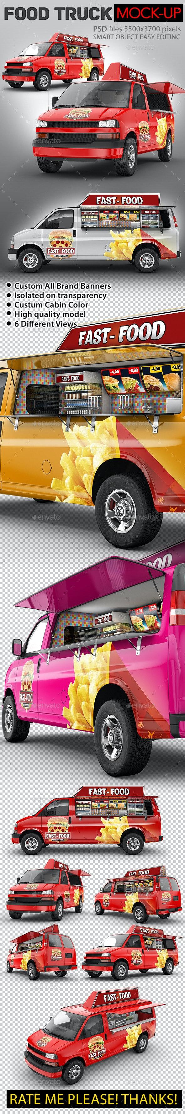 Food Truck Mock-Up. Minibus Eatery Mockup - Vehicle Wraps Print