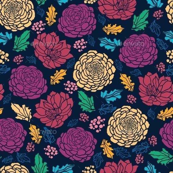 Colorful Vibrant Flowers on Dark Seamless Pattern