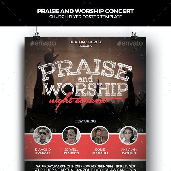 Praise and Worship Concert Church Flyer