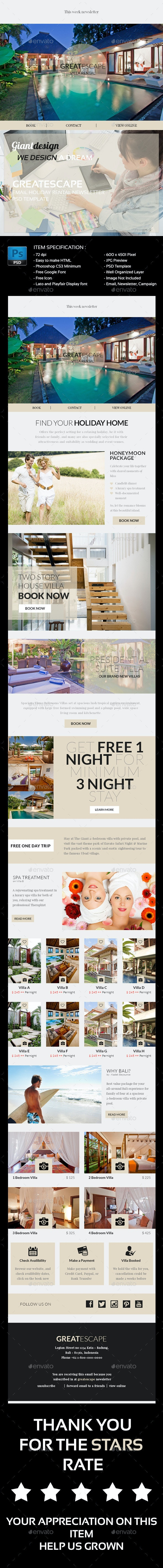 Great Escape - Psd Email Newsletter - E-newsletters Web Elements