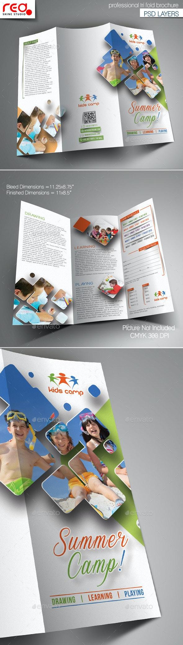 Summer Camp Trifold Brochure Template - 1 - Brochures Print Templates