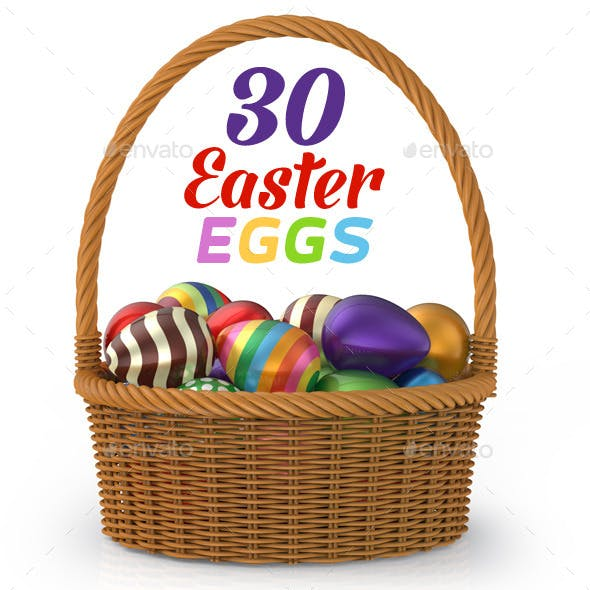 30 Easter Eggs 3D Set
