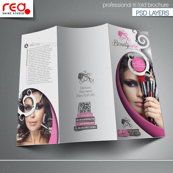 Beauty Care Trifold Brochure Template