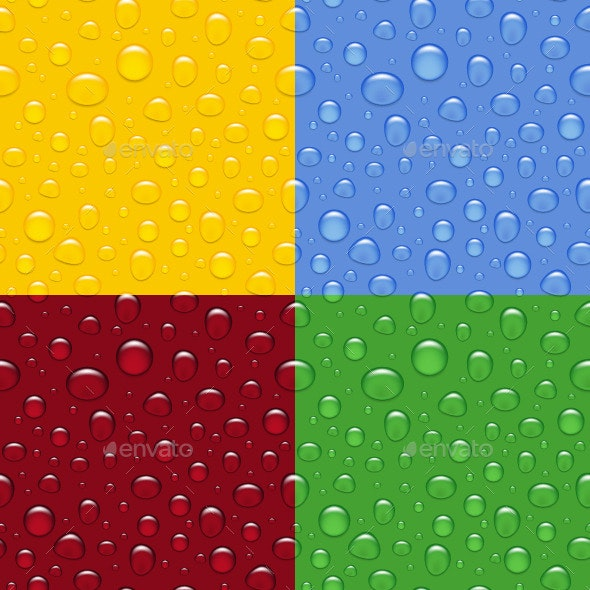 Set of Water Drops Seamless Backgrounds - Seasons Nature