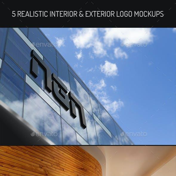 5 Realistic Interior & Exterior  Logo Mock-ups
