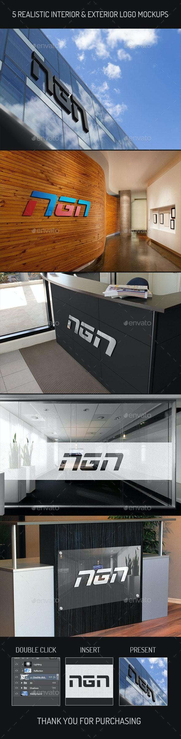 5 Realistic Interior & Exterior  Logo Mock-ups - Product Mock-Ups Graphics