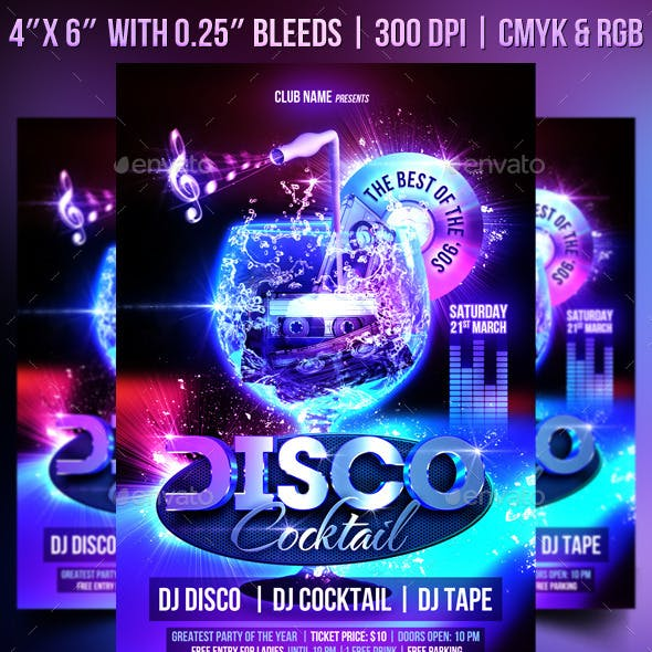 Disco Cocktail Flyer Template