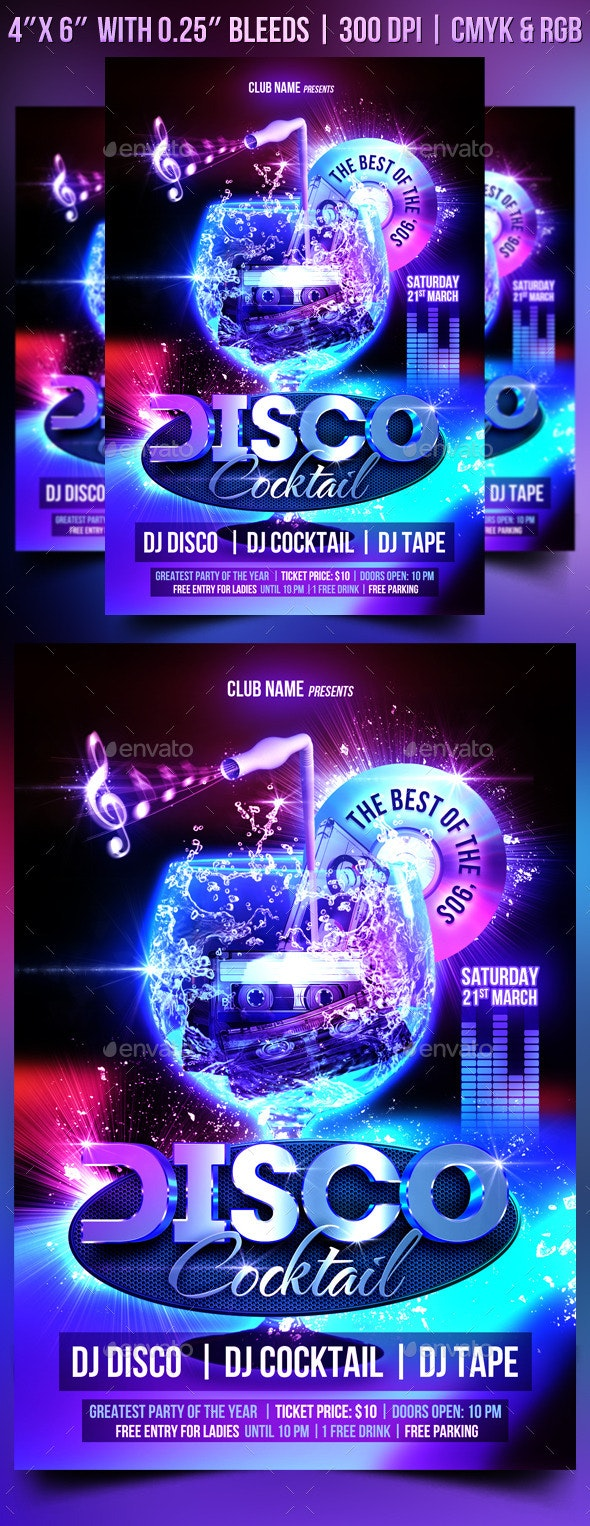 Disco Cocktail Flyer Template - Clubs & Parties Events