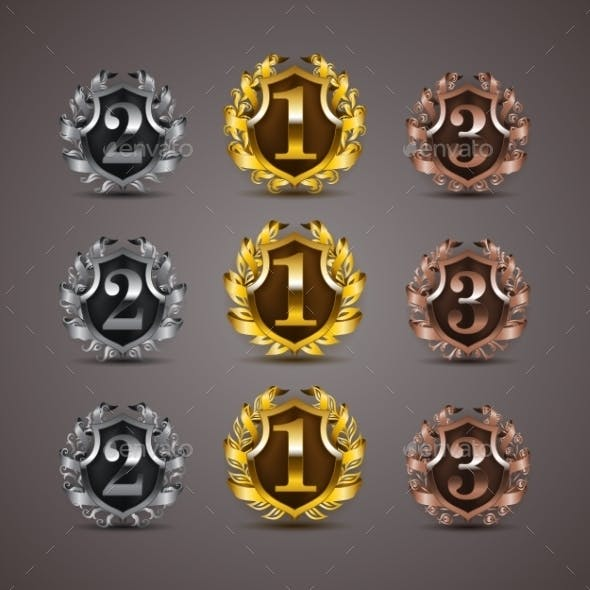 Set of Luxury Golden Shields